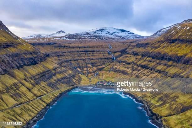 Aerial view of Tjornuvik, Faroe Islands