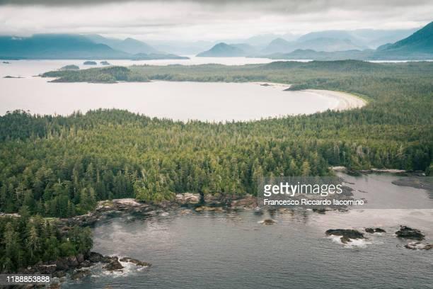 aerial view of tofino coastline, pacific rim national park, vancouver island, british columbia, canada. - vancouver kanada stock-fotos und bilder