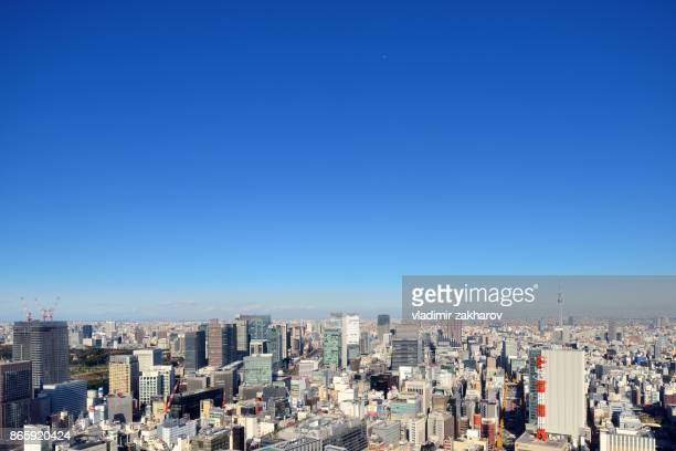 Aerial view of Tokyo around Ginza district