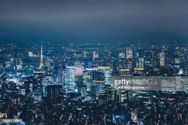 aerial view of tokyo at night - tokyo japan stock pictures, royalty-free photos & images