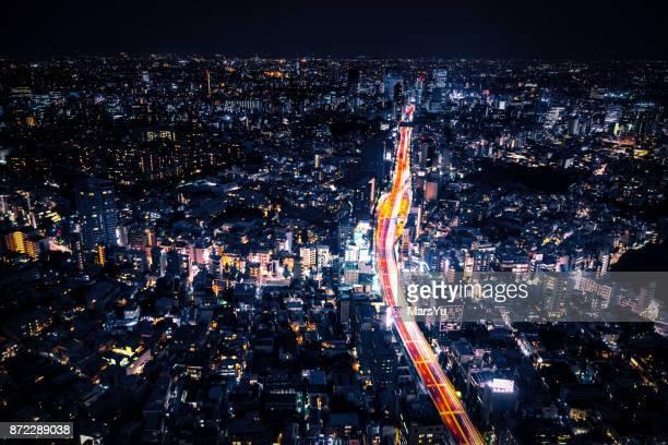 Aerial View of Tokyo at Night