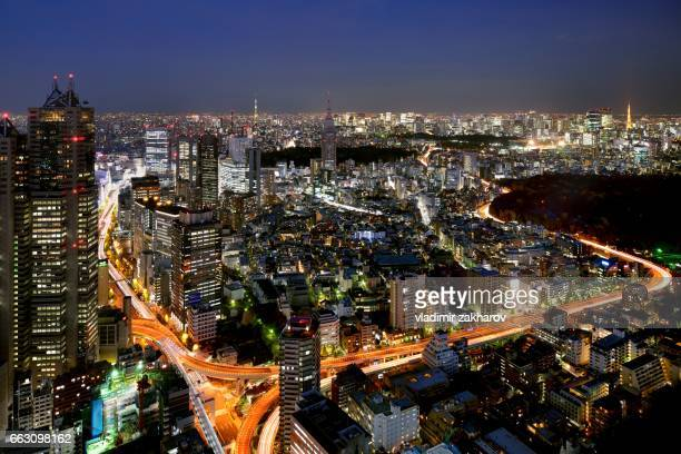 aerial view of tokyo at nightfall - yoyogi tokyo stock photos and pictures