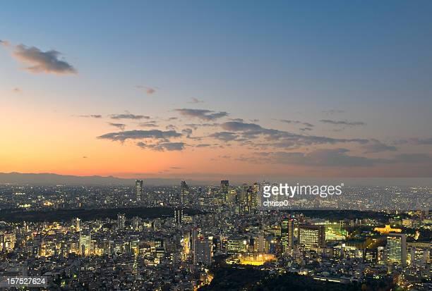 luftbild von tokio bei sonnenuntergang - nishi shinjuku stock-fotos und bilder