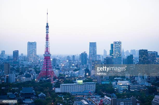 上空から見た東京の夕暮れ