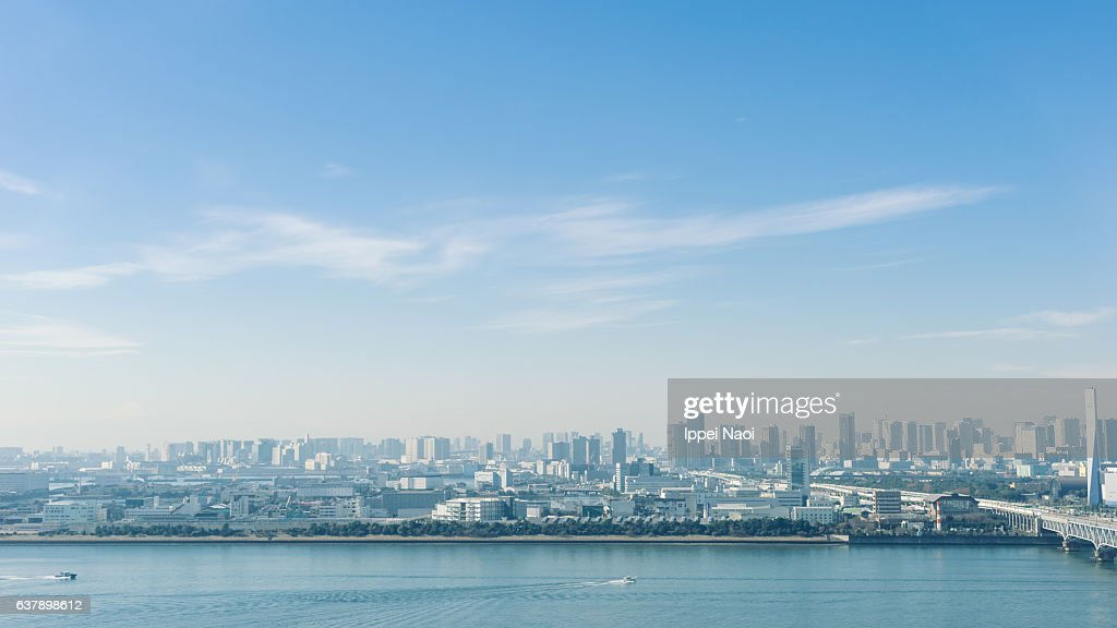 Aerial view of Tokyo Bay area on a sunny winter day : Stock Photo