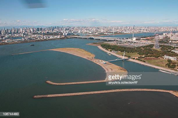 Aerial view of Tokyo Bay, Edogawa ward, Tokyo Prefecture, Honshu, Japan