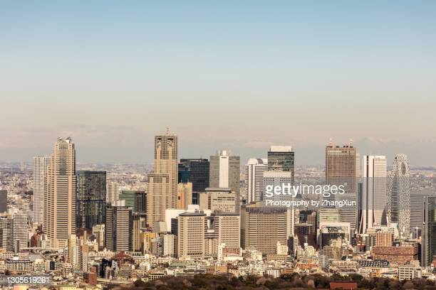 aerial view of tokyo city with shinjuku skyscrapers. - 東京都庁舎 ストックフォトと画像