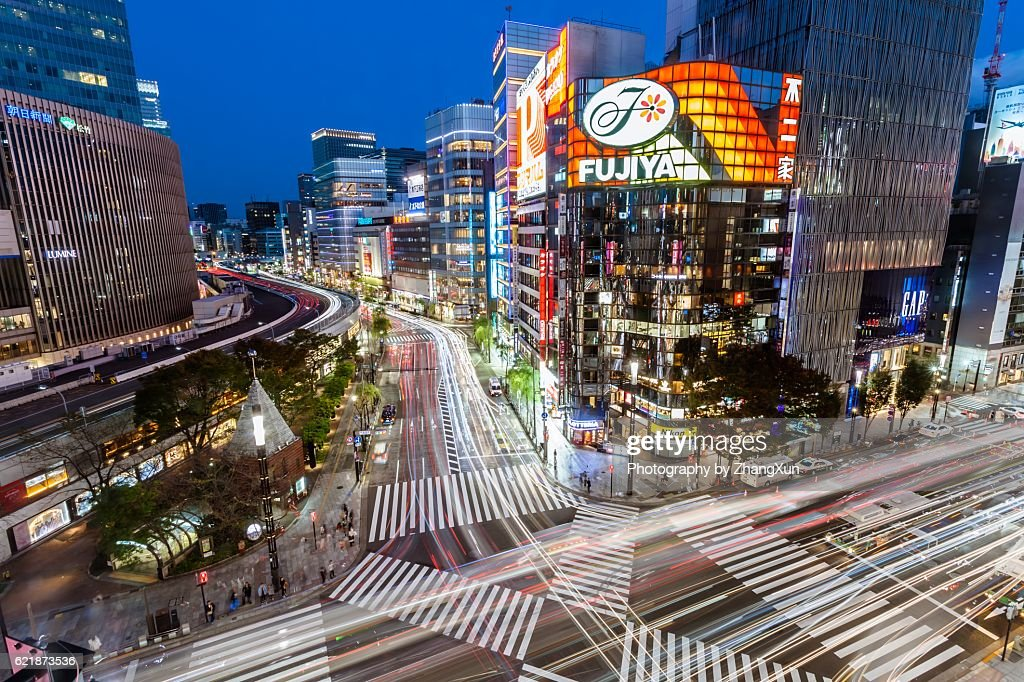 https://media.gettyimages.com/photos/aerial-view-of-tokyo-ginza-towards-sukiyabashi-crossing-and-yurakucho-picture-id621873536