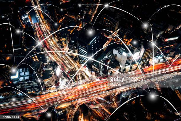 aerial view of tokyo highway  network - overhead view of traffic on city street tokyo japan stock photos and pictures