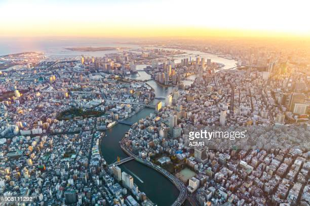aerial view of tokyo japan - tokyo japan stock pictures, royalty-free photos & images