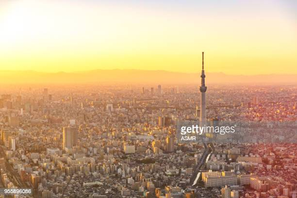 aerial view of tokyo japan skyline - overhead view of traffic on city street tokyo japan stock photos and pictures