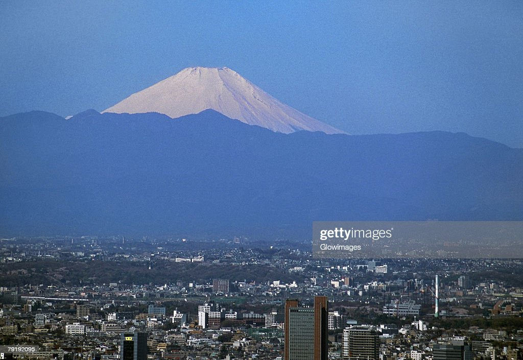Aerial view of Tokyo, Japan with Mt. Fuji : Stock Photo