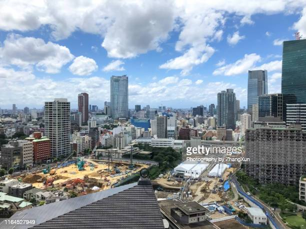 aerial view of tokyo. - roppongi hills stock pictures, royalty-free photos & images