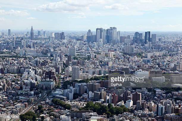 aerial view of tokyo - 新宿区 ストックフォトと画像