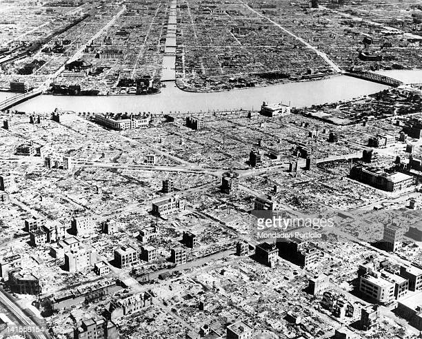 Aerial view of Tokyo razed by American bombing carried out on the evening of March 9th by 334 B-29 Super Flying Fortresses. Tokyo, March 1945