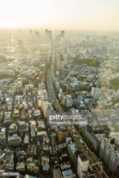 Aerial view of Tokyo skyline with skyscapers and highwat at sunset.