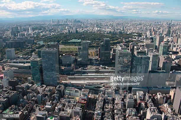 Aerial view of Tokyo station, Chuo ward, Tokyo Prefecture, Honshu, Japan