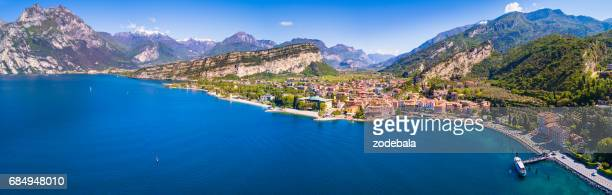 aerial view of torbole, lake of garda, italy - lake garda stock pictures, royalty-free photos & images