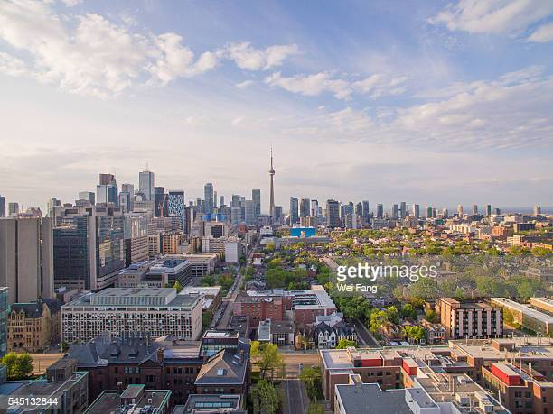 aerial view of toronto cityscape at sunrise - toronto stock pictures, royalty-free photos & images