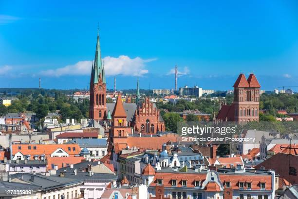 aerial view of torun with st catherine church and st. james church in torun, poland - poland stock pictures, royalty-free photos & images