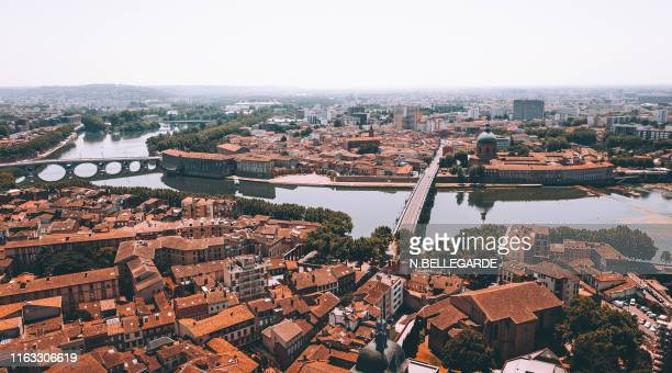 aerial view of toulouse - toulouse stock pictures, royalty-free photos & images