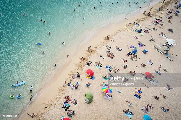 Aerial view of tourists on beach