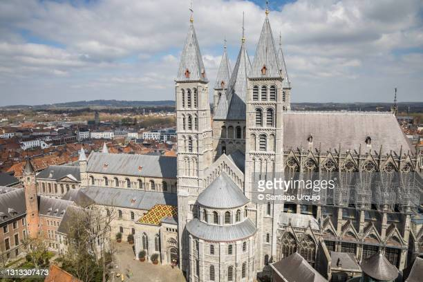aerial view of tournai cathedral - cathedral stock pictures, royalty-free photos & images