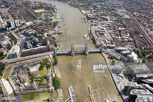 aerial view of tower bridge and city, london, england, uk - テムズ川 ストックフォトと画像