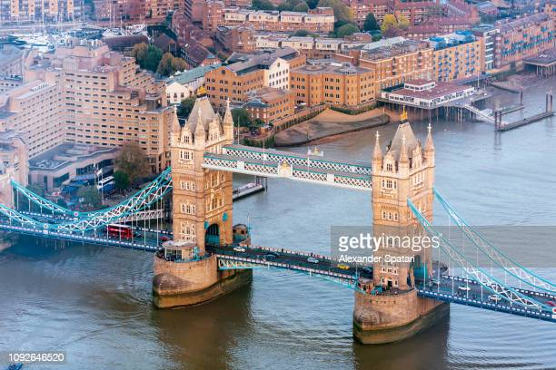 aerial view of tower bridge and thames river, london, uk - london bridge photos et images de collection