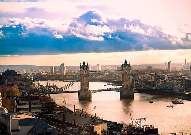Aerial view of Tower Bridge in London