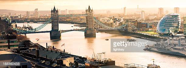 Aerial view of Tower Bridgeand City Hall in London