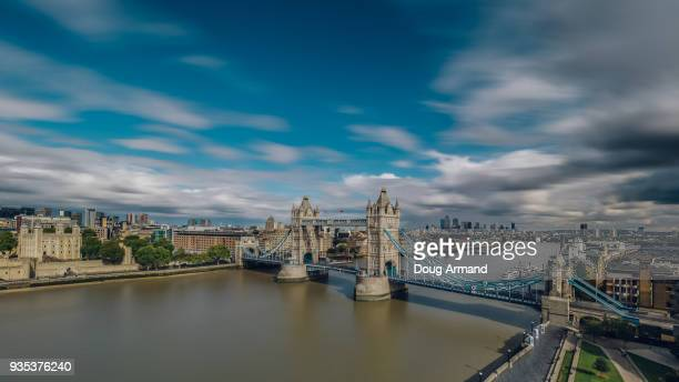 Aerial view of Tower of London and Tower Bridge, London, UK