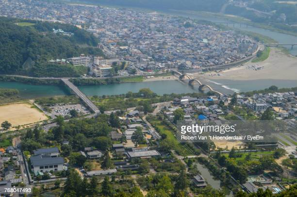 aerial view of town against sky - 山口県 ストックフォトと画像