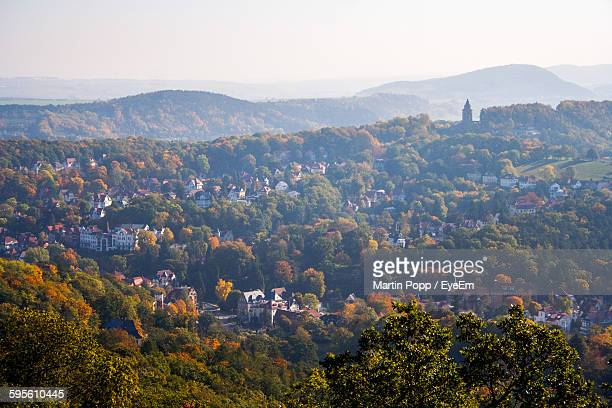 aerial view of town and trees in autumn - thuringia stock pictures, royalty-free photos & images