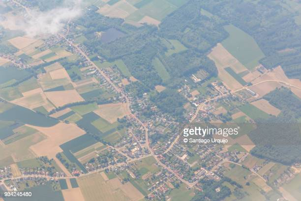 Aerial view of town in Flanders