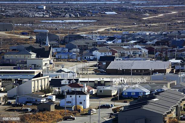 aerial view of town of churchill - manitoba stock pictures, royalty-free photos & images