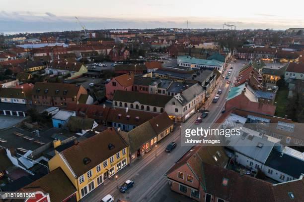 aerial view of town - localidad pequeña fotografías e imágenes de stock