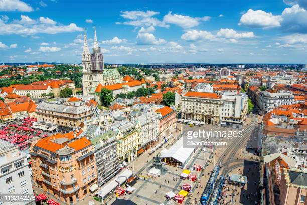 aerial view of town square, zagreb, croatia - zagreb stock pictures, royalty-free photos & images