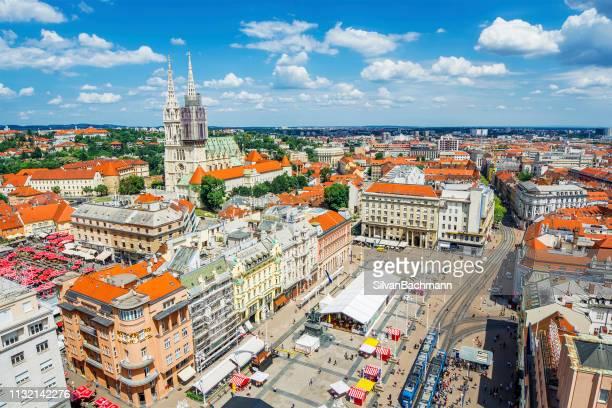 aerial view of town square, zagreb, croatia - zagreb stock-fotos und bilder