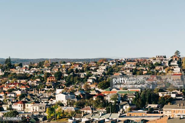 aerial view of townscape against clear sky - launceston australia stock pictures, royalty-free photos & images