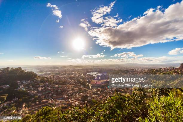 aerial view of townscape against sky - antananarivo stock photos and pictures