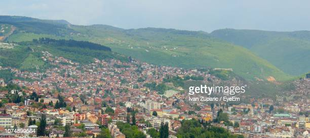 aerial view of townscape against sky - bosnia and hercegovina stock pictures, royalty-free photos & images