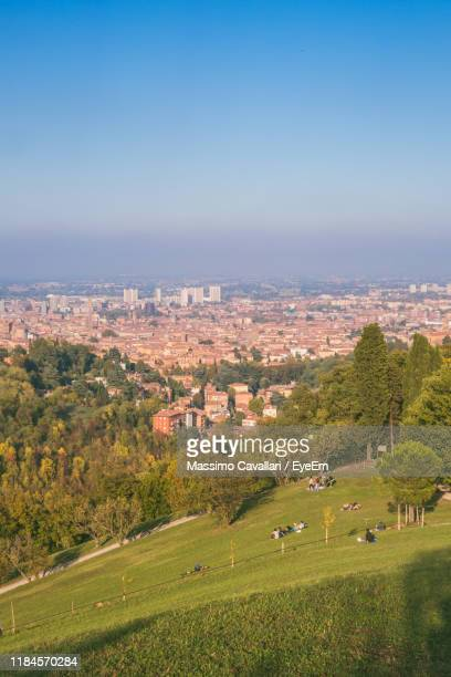 aerial view of townscape against sky - massimo cavallari stock pictures, royalty-free photos & images