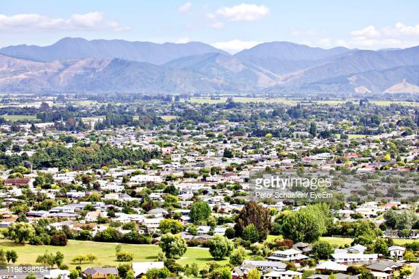 aerial view of townscape against sky - blenheim new zealand stock pictures, royalty-free photos & images