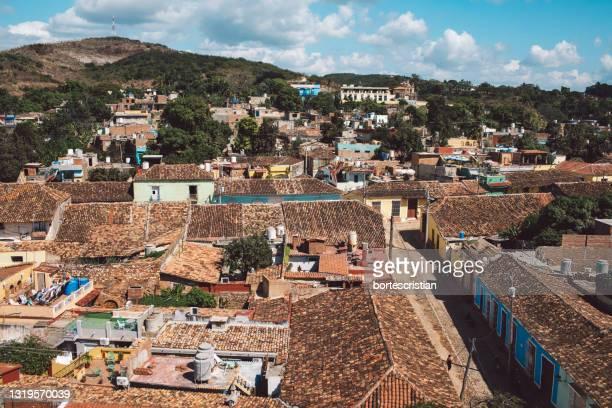 aerial view of townscape against sky - bortes foto e immagini stock