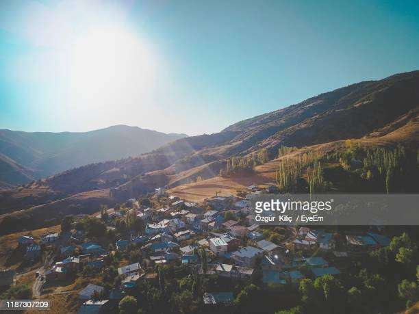 aerial view of townscape and mountains against sky - sivas stock pictures, royalty-free photos & images