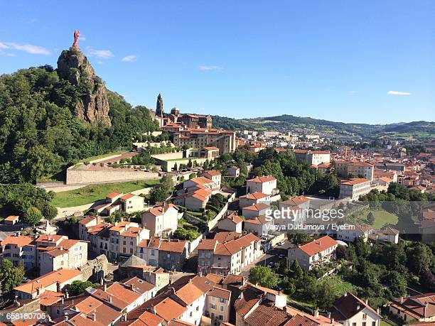 aerial view of townscape - le puy stock pictures, royalty-free photos & images