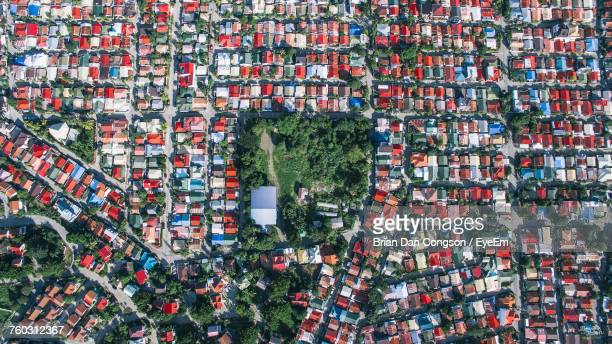 aerial view of townscape - davao city stock photos and pictures