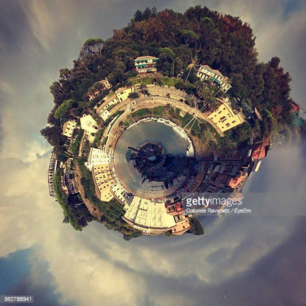 Aerial View Of Townscape With Little Planet Effect