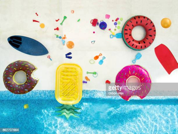Aerial view of toys in the pool